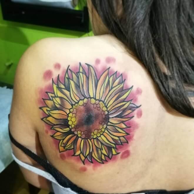 Back Left Side Sunflower Tattoo