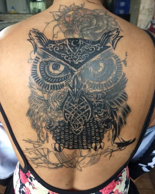 Back Side Owl Tattoo