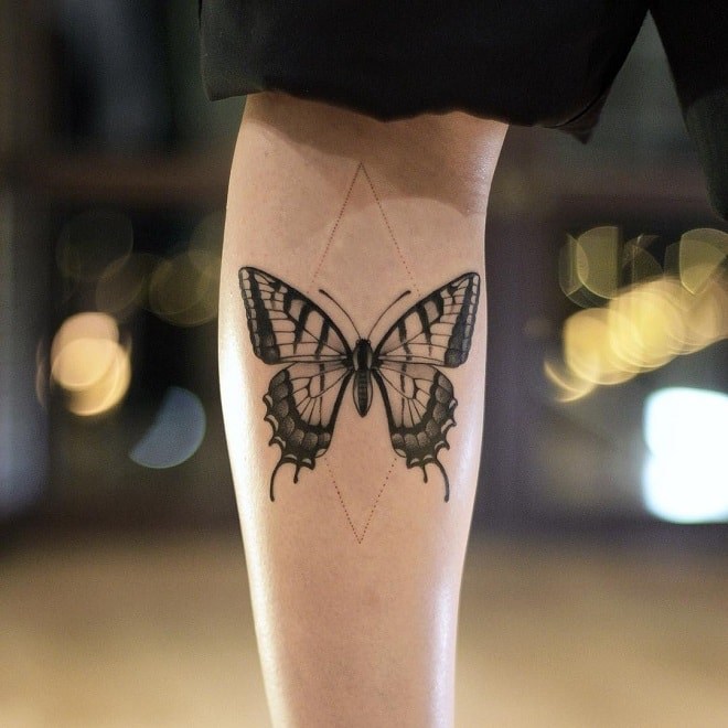 Black Work Butterfily tattoo