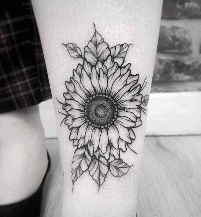 Dotwork Sunflower Tattoo