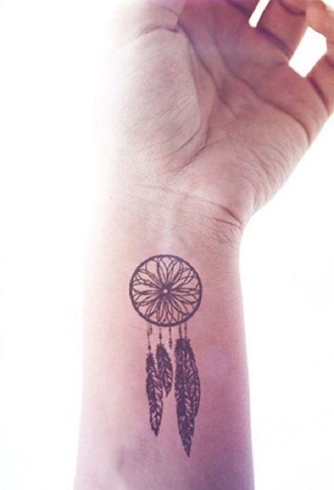 Dreamcatcher wrist tattoo