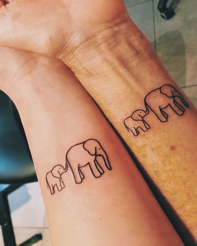 Elephant Mother Daughter Tattoo