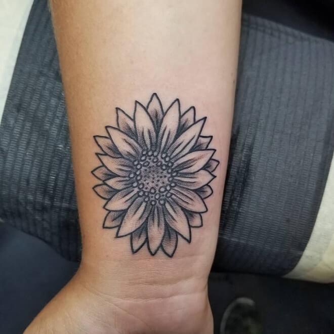 Explosion Sunflower tattoo