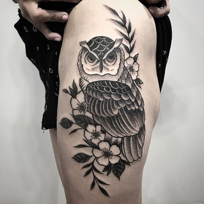 Flor Owl Tattoo