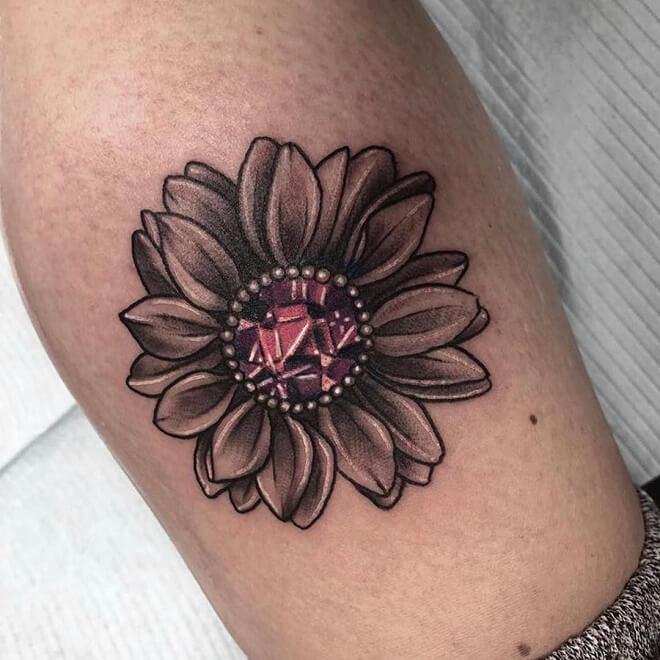 Gem Sunflower tattoo