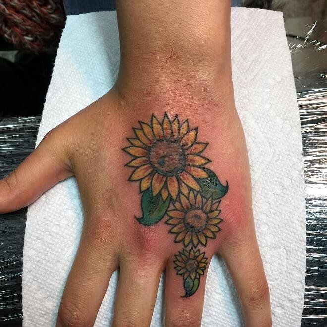 Hand Cover Up Sunflower tattoo