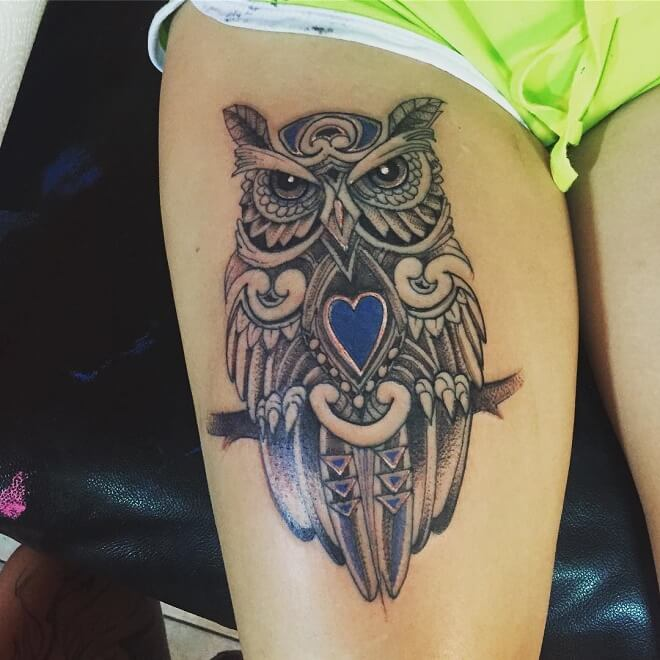 Leg Owl Tattoo