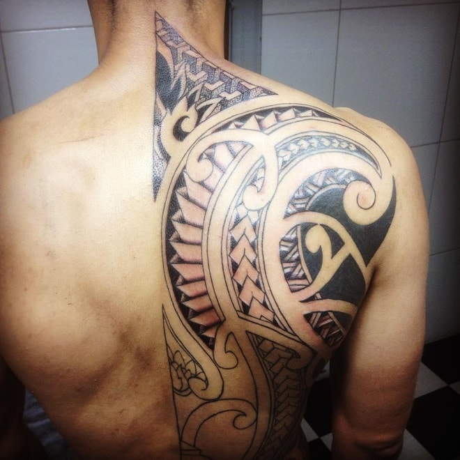 Maori Back Tribal Tattoo