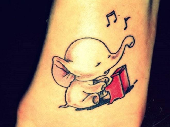 Musical Baby Elephant tattoo