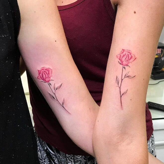 Red Rose Best Friends Tattoo