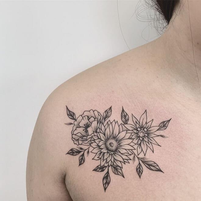 Shoulder Sunflower Tattoo
