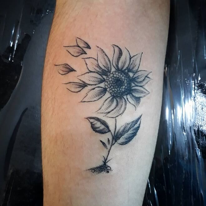Sketch Sunflower Tattoo
