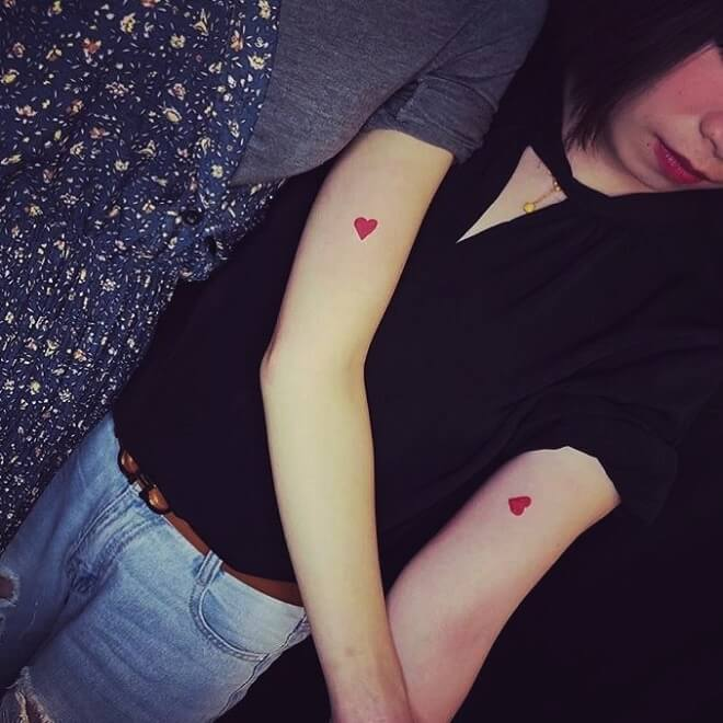 Small Heart Sister Tattoos