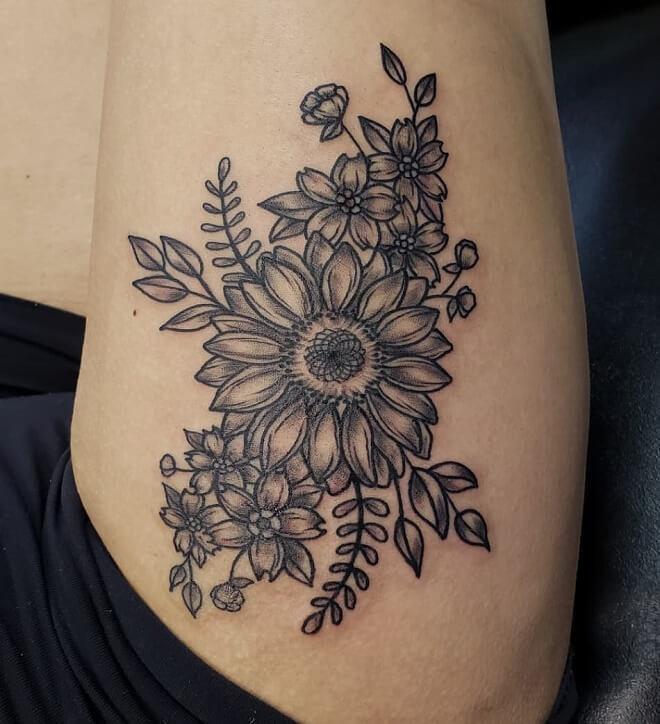 Thigh Sunflower tattoo