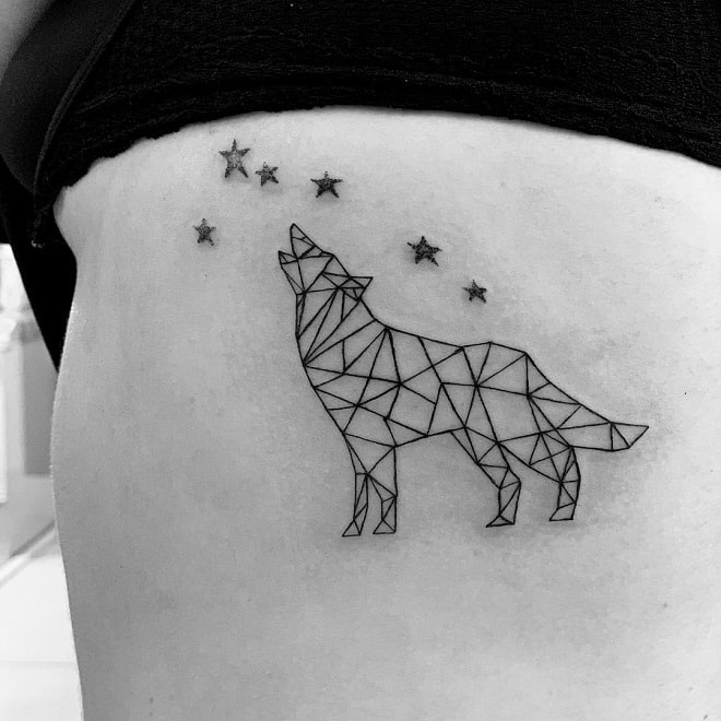 Wolf With Star Tattoo