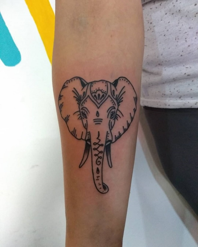line elephant tattoo