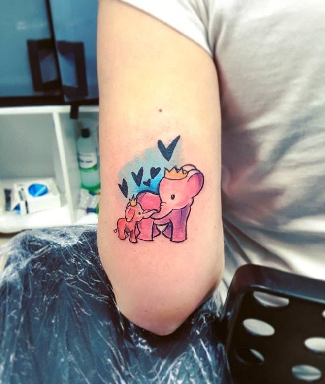 watercolor elephant tattoo
