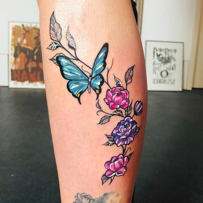 watercolor female butterfly tattoo