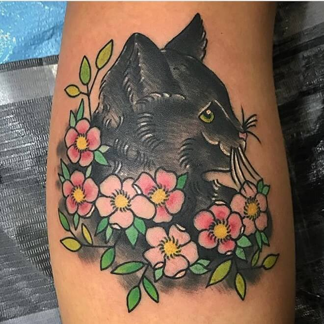 Amazing American Traditional Cat Tattoo