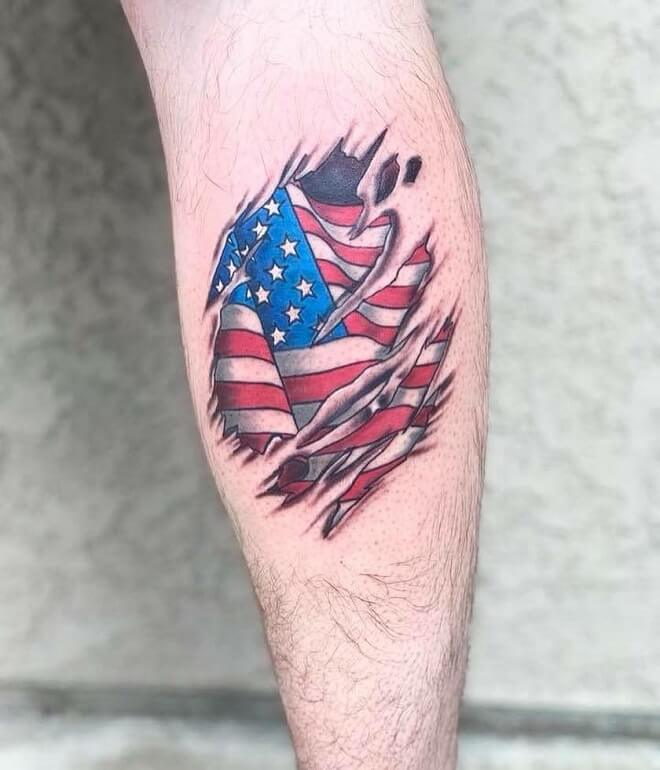 American Flag Military Tattoo