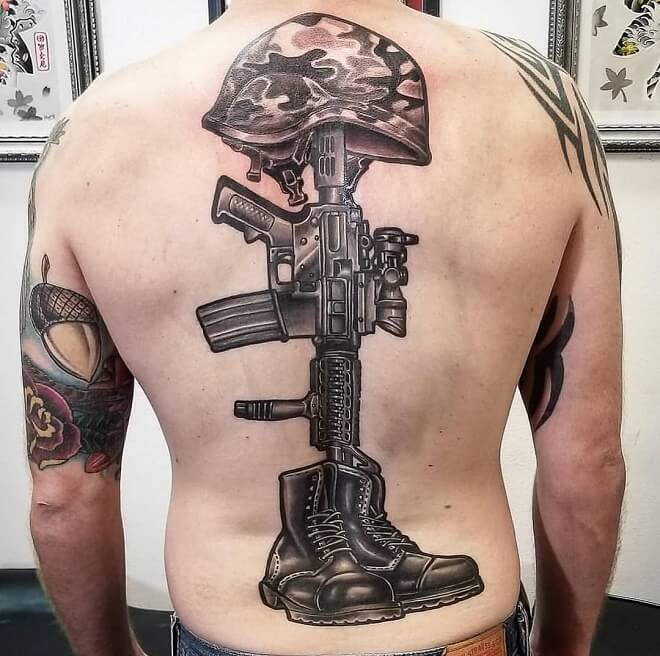 Back Side Military Tattoo