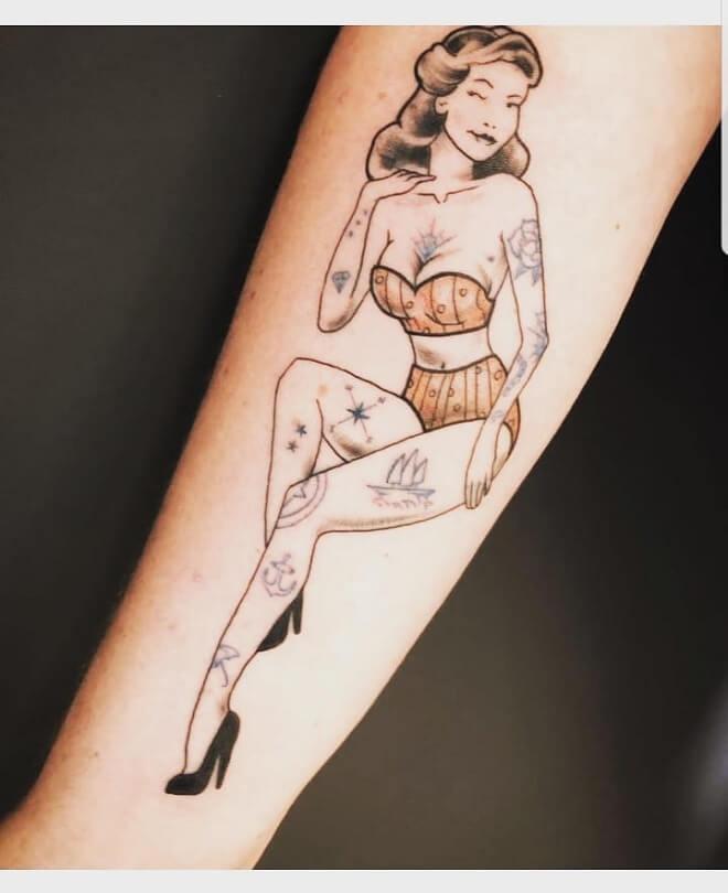 Beautiful Pin Up Doll Tattoo