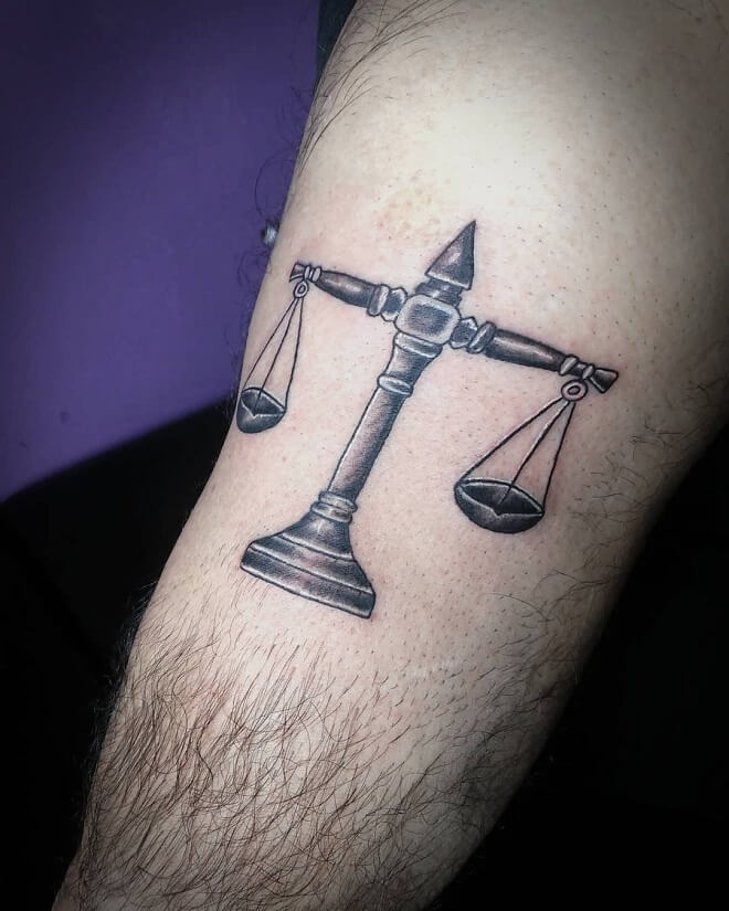 Black And Grey Libra Tattoo
