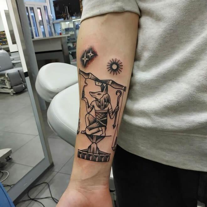 Black And White Egyptian Tattoo