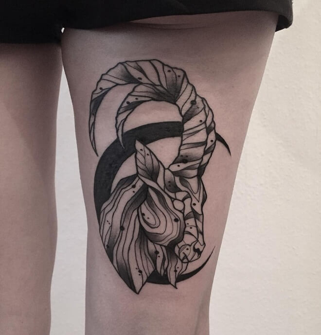 Black Work Capricorn Tattoo