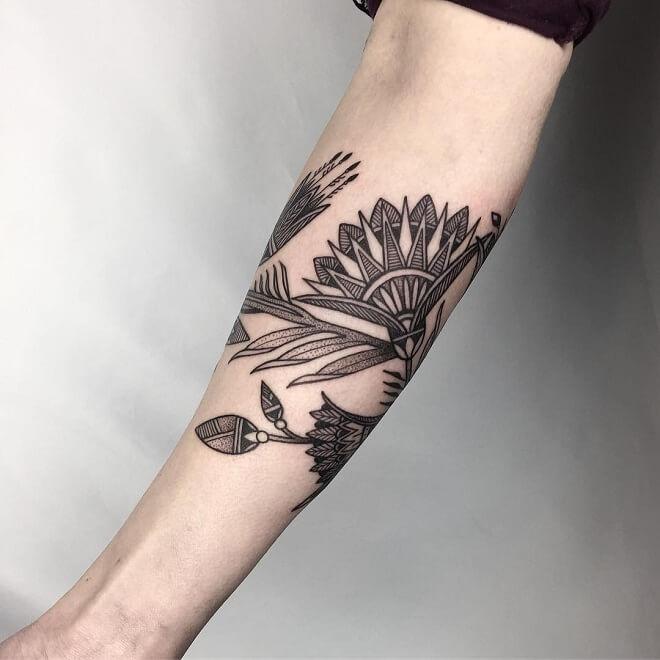 Black Work Egyptian Tattoo