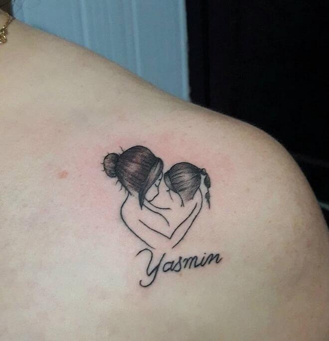 Black Work Mom Tattoo