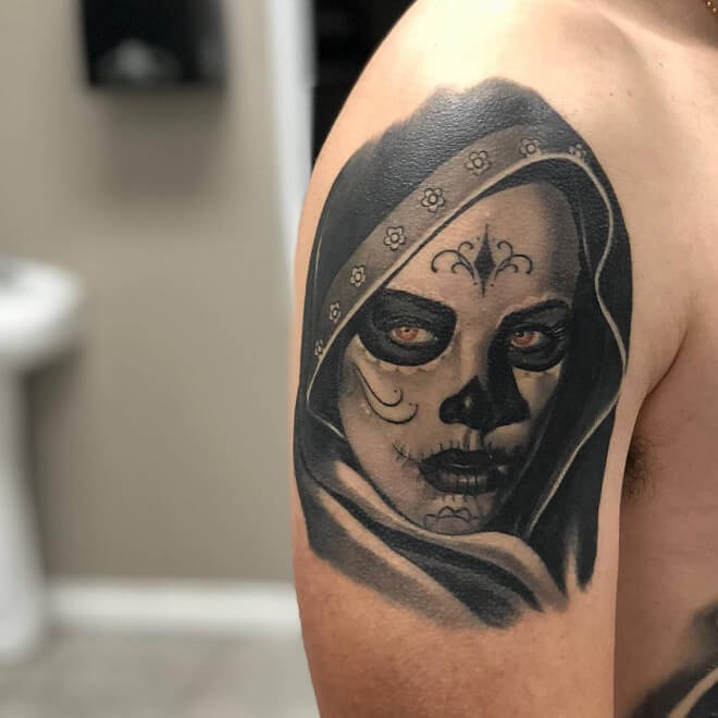 Black and Grey Day of the Dead Tattoo