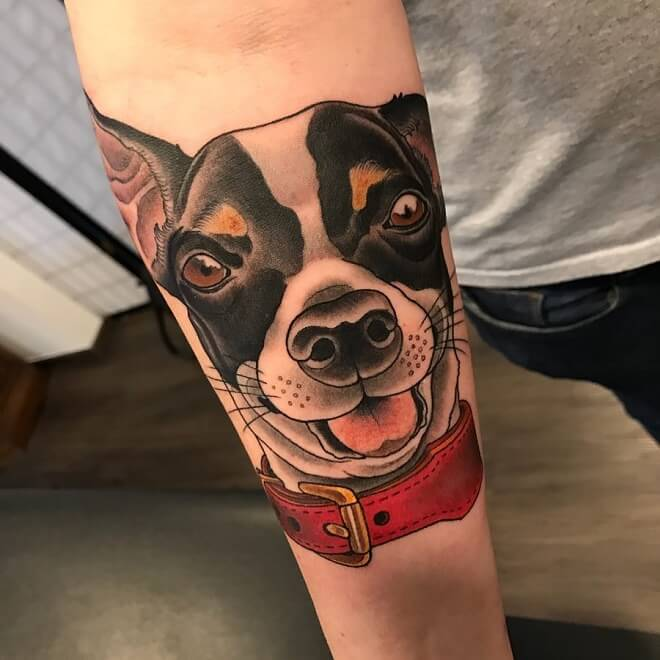 Black and Red Dog Tattoo