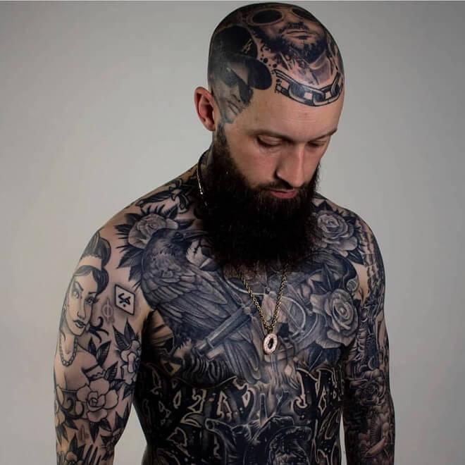 Black andb grey Head Tattoo