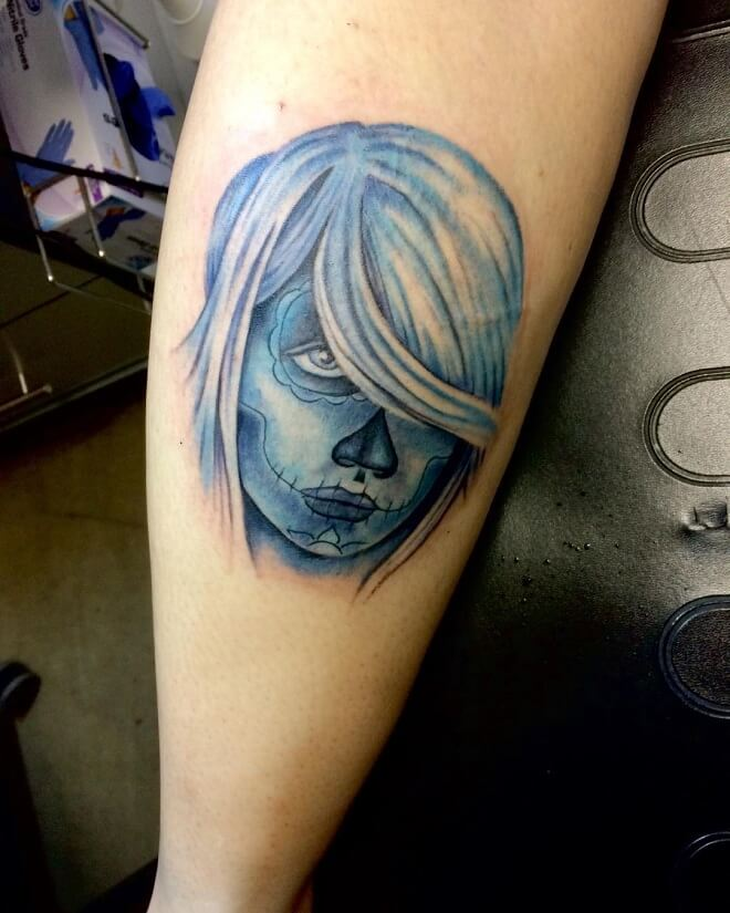 Blue Color Day of The Dead Tattoo