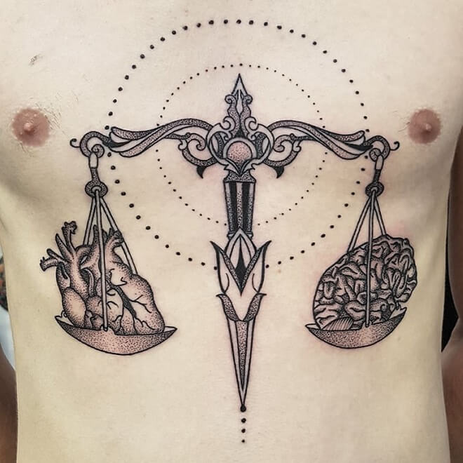 Breast Libra Tattoo