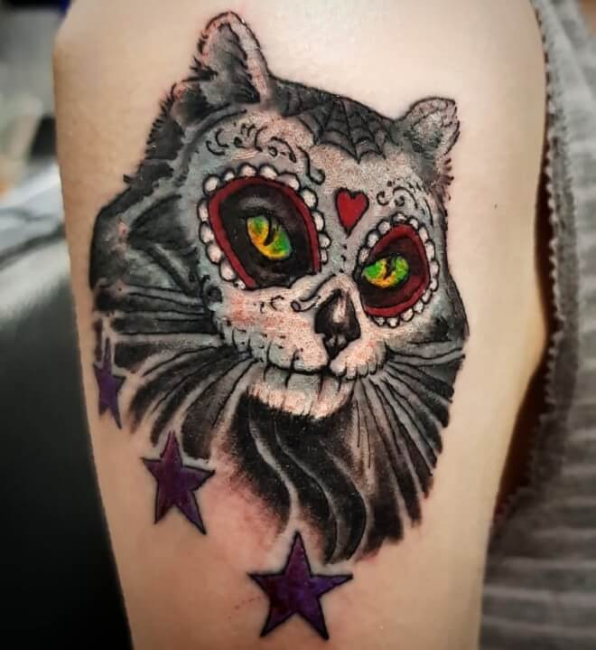 Cat Day of The Dead Tattoo