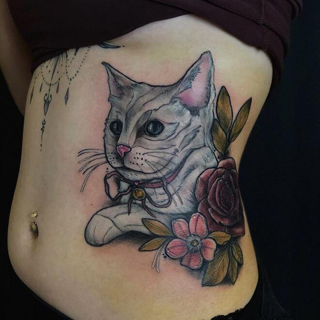 Cat Stomach Tattoo