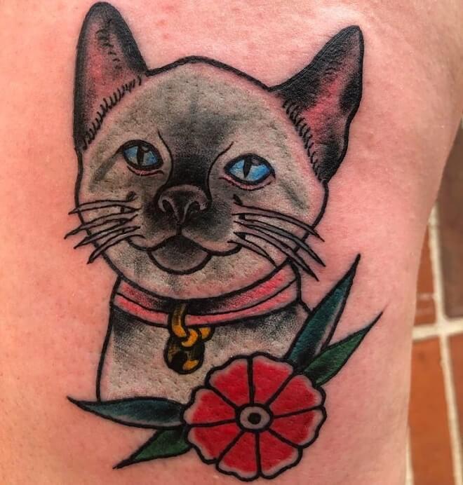 Cat Traditional Tattoo Art