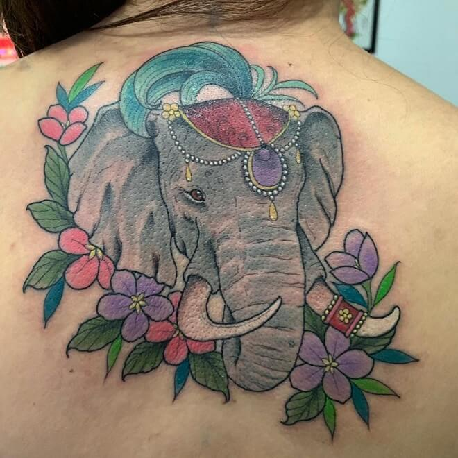 Color Elephant Tattoo for Women