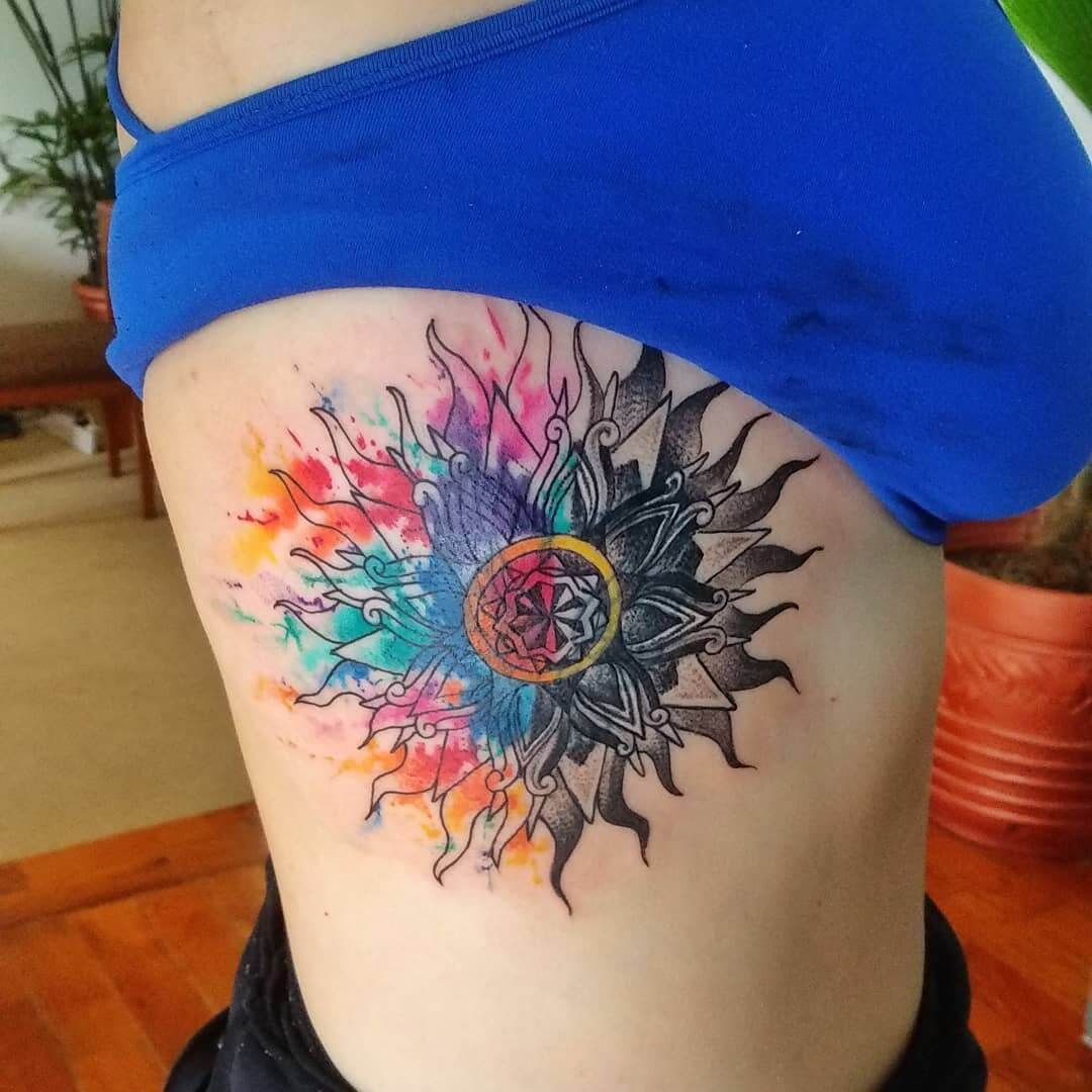 Color Full Rib Cage Tattoo