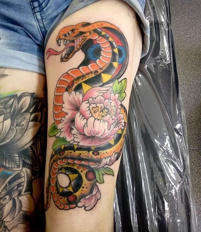 Colorful Leg Tattoo