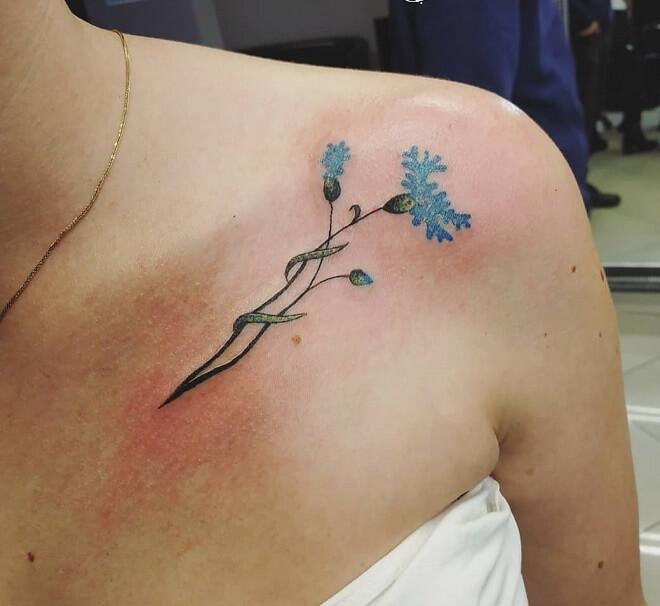 Corn flower Collar Bone Tattoo