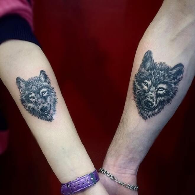 Couple Wolf Tattoos