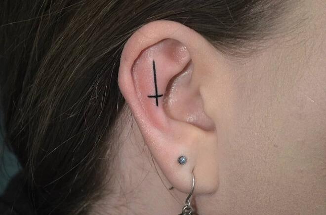 Cross Ear Tattoo