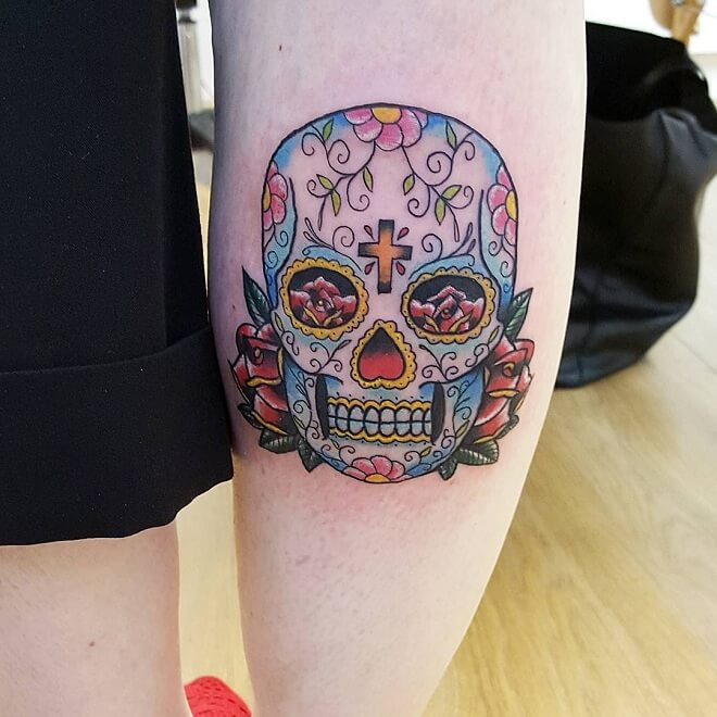 Cross and Flower Day of The Dead Tattoo