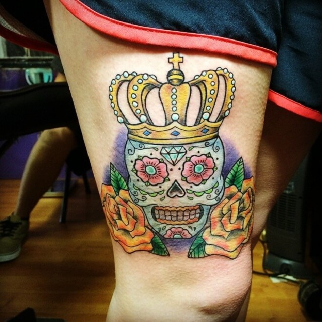 Crown Day of The Dead Tattoo