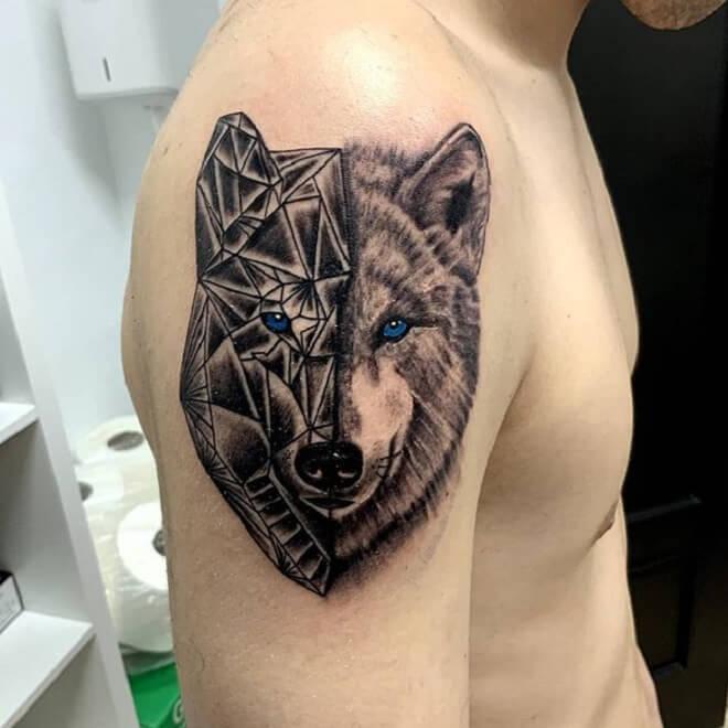 Cubismo Wolf Tattoo