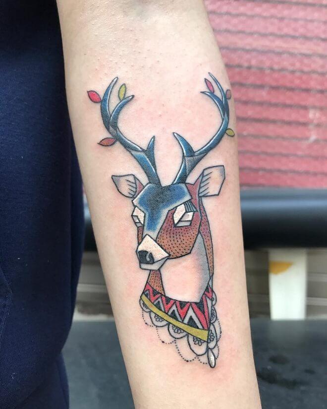 Deer Badass Tattoo