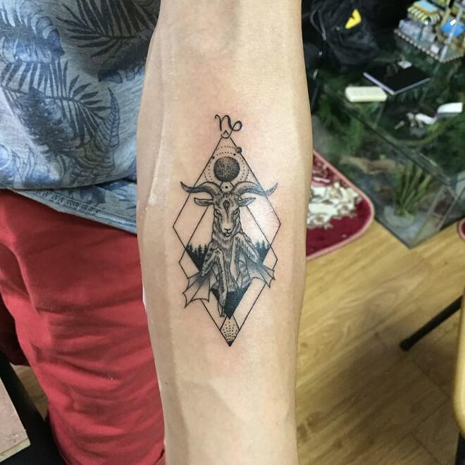 Dot Work Capricorn Tattoo